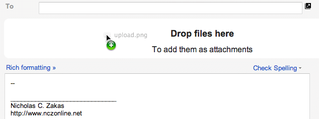 Gmail compose message file drop area