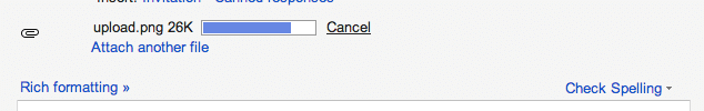 Gmail file upload progress bar